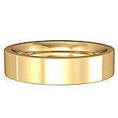 Jewelco London 18ct Yellow Gold - 5mm Premium Flat Court-Shaped Band Commitment / Wedding Ring -