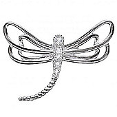 The REAL Effect Rhodium Coated Sterling Silver Cubic Zirconia Dragonfly Pendant Pendant