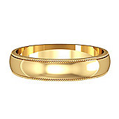 9ct Yellow Gold - 4mm Essential D-Shaped Mill Grain Edge Band Commitment / Wedding Ring -