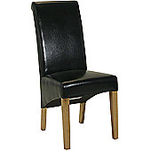 Kelburn Furniture Essentials Leather Roll Top Chair in Black
