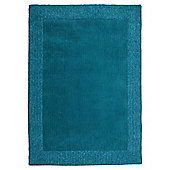 Tesco Tiered Border Wool Rug Teal 150X240Cm