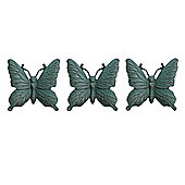 Set of Three Wall Mountable Verdigris Cast Iron Butterfly Garden Ornaments