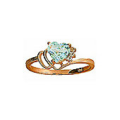 QP Jewellers Diamond & Aquamarine Passion Heart Ring in 14K Rose Gold