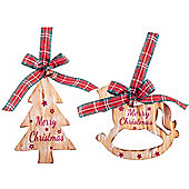 Rustic Hanging Wooden Tree & Rocking Horse 'Merry Christmas' Decorations