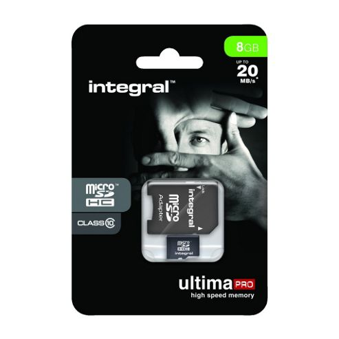 Integral microSDHC 8GB Class 10 Card + SD Adapter