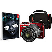 Canon EOS M Red CSC Camera Kit inc EF-M 18-55mm Lens, Case and Adobe Lightroom
