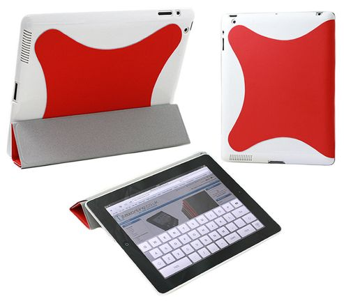 iTALKonline 21150 Red White Hard Smartie Case/Cover (Front & Back) - Apple iPad 2 16gb 32gb 64gb