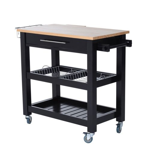 Buy Homcom Wooden Trolley Kitchen Cart Dining Serving Worktop W 2 Metal Baskets Condiment And