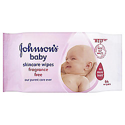 Johnsons Baby Skincare Wipes - Fragrance Free - 56 Wipes