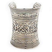 Wide Silver Textured Egyptian Style Cuff Bangle - 10cm Width