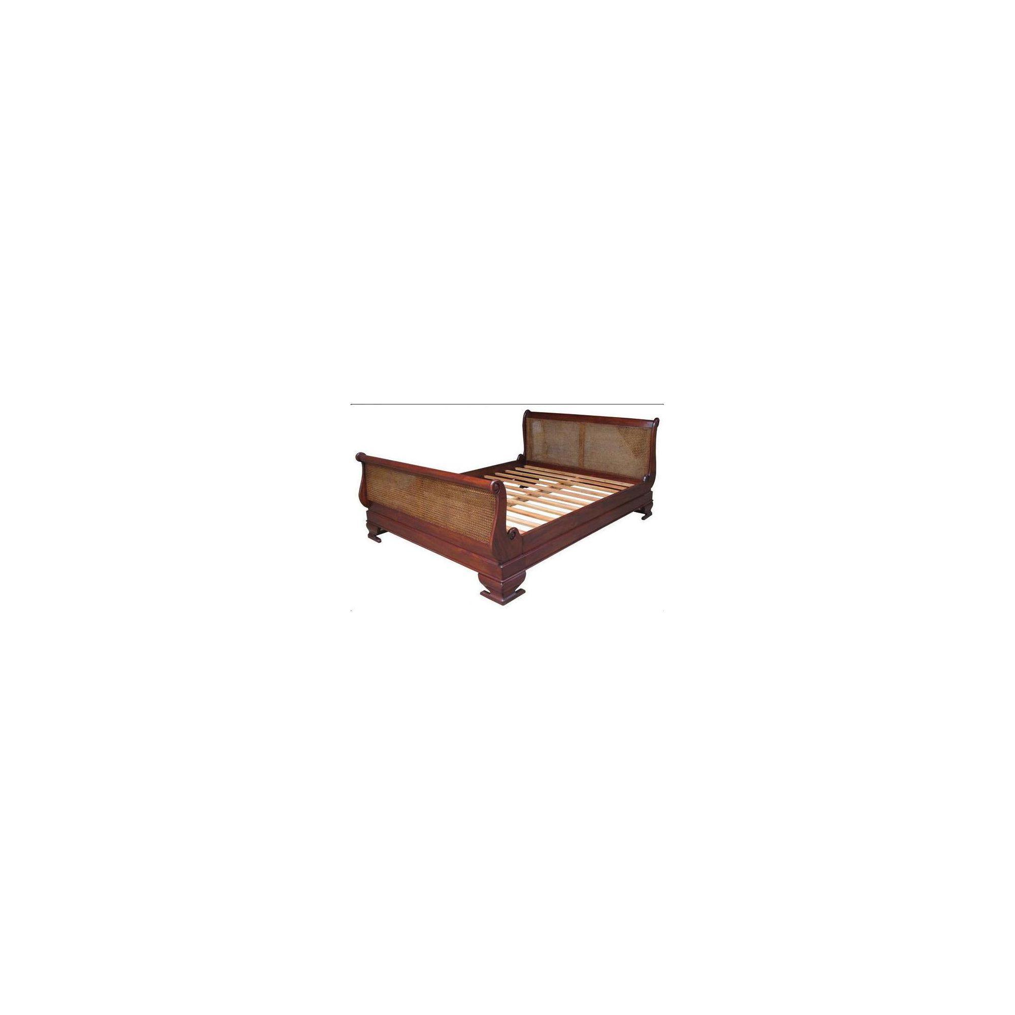 Lock stock and barrel Mahogany Rattan Sleigh Bed in Mahogany - Wax - Double at Tesco Direct