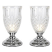 Pair of Goblet Touch Table Lamps in Chrome
