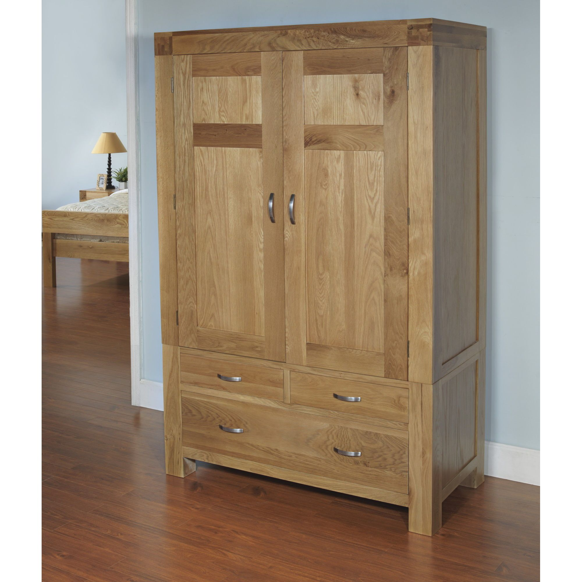 Hawkshead Rustic Oak Blonde Double Wardrobe at Tescos Direct