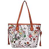 Cream Floral and Tan Shopper Bag