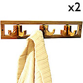Clik Clak - Wall Mounted Solid Pine Coat / Towel Hook - Pack Of Two