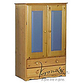 Verona 2 Drawer Tall Boy Wardrobe - Antique / Blue