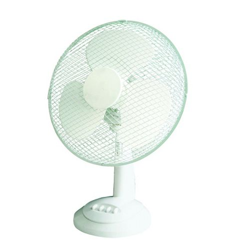 12 Inch 3 Speed Portable Oscillating Desk Cooling Fan White