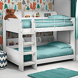 Happy Beds Domino 3ft Kids White Sleep Station Bunk Bed 2x Spring Mattress