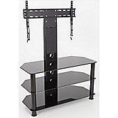 AVF Universal Black Glass and Black Legs Cantilever TV Stand For up to 55 inch TVs