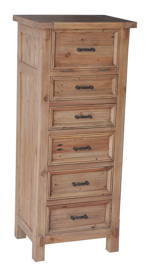 Wiseaction Naples 6 Drawer Tallboy with Mirror
