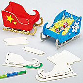 Wooden Christmas Sleigh Kits for Children (4 Pcs)
