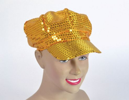 Sequin Cap 70's style Gold