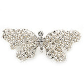 Bridal Wedding Prom Silver Tone Pearl Diamante 'Butterfly' Barrette Hair Clip Grip - 75mm Across