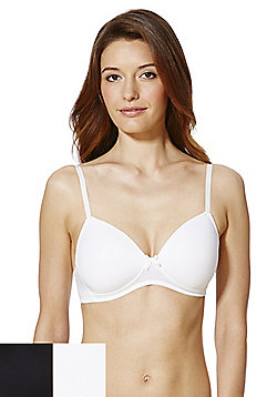 F&F 2 Pack of Non-Wired Bras - Black & White