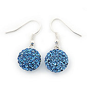 Sky Blue Swarovski Crystal Ball Drop Earrings In Silver Plated Finish - 12mm Diameter/ 3cm Length