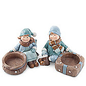 Joseph & Ivy the Winter Blue Children Christmas Figurine Tea Light Holders