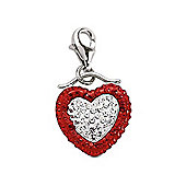 Rhodium Coated Sterling Silver Red & White Crystal Heart Charm