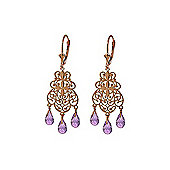 QP Jewellers 3.75ct Amethyst Trilogy Chandelier Earrings in 14K Rose Gold