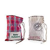 Set of Two Tartan & Natural Linen Christmas Sack Gift Bags