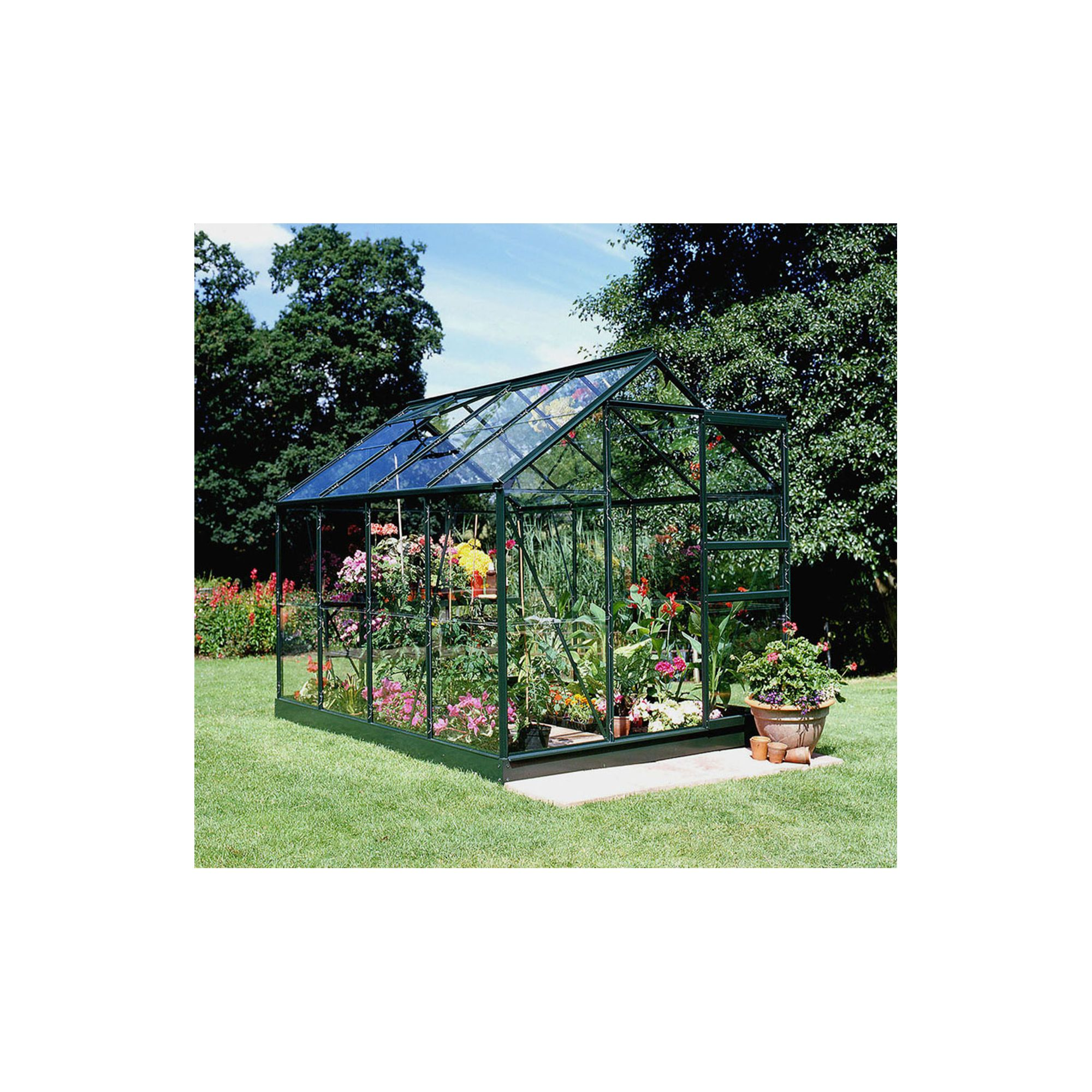 Halls 8x6 Popular Greenframe Greenhouse + Base - Horticultural Glass at Tesco Direct