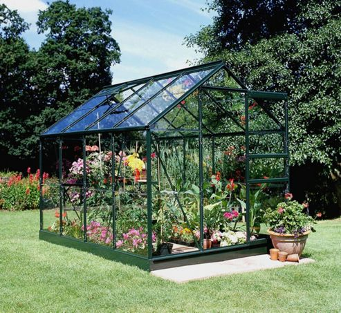 Halls 8x6 Popular Greenframe Greenhouse + Base - Horticultural Glass