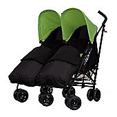 Obaby Apollo Black & Grey Twin Stroller with 2 Black Footmuffs, Lime