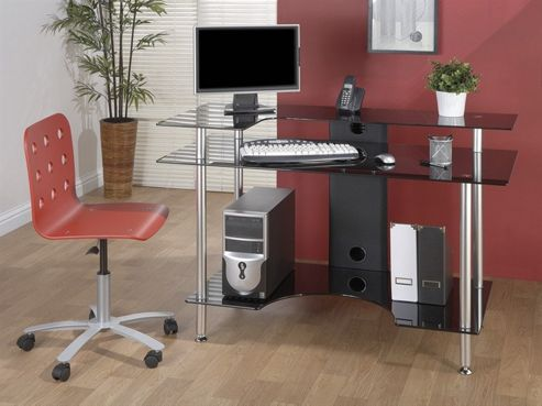Jual Furnishings Large Computer Desk with Black Glass