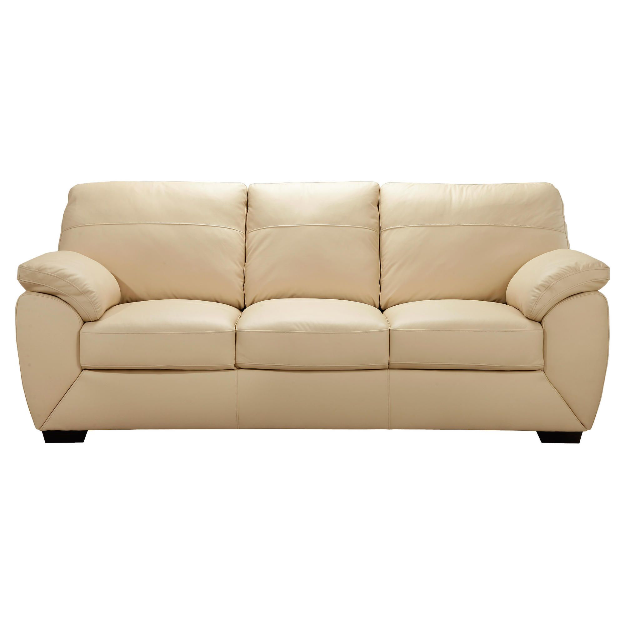Alberta Large Leather Sofa, Ivory at Tesco Direct