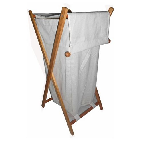 Wooden Frame Fabric Laundry Bin, Natural