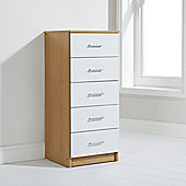 Elements Oslo 5 Drawer Tallboy Chest - White
