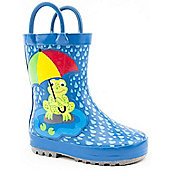 Brantano Boys Frog Umbrella Blue Wellington Boots - Blue