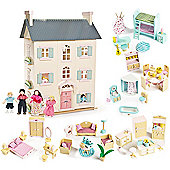 Le Toy Van Cherry Tree Hall Dolls House, Sweetbee Furniture and Dolls