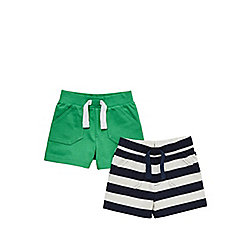 F&F 2 Pack of Jersey Shorts 18 - 24 months Green/Blue