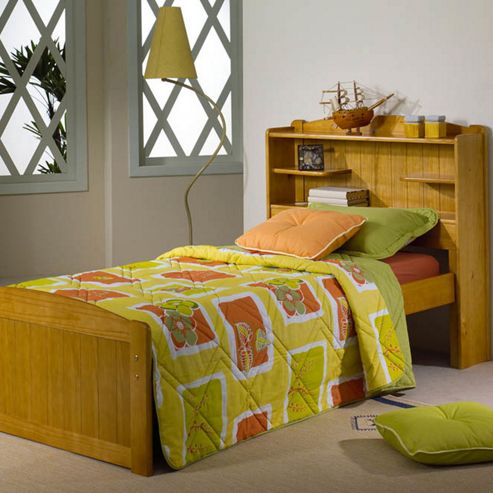Amani Bookcase single Bed Frame - Honey