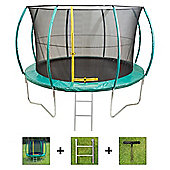 Up and About 12ft Hurricane Green Trampoline Package with Free Ladder, Weather Cover and Building Tool