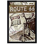 Black Wooden Framed Route 66 Map Poster
