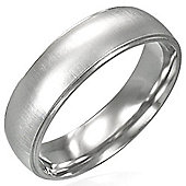 Urban Male Men's Brushed Finish Plain 6mm Stainless Steel Ring