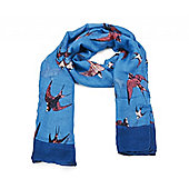 Summer Blue Swallow Print Scarf