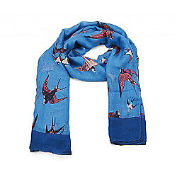 Summer Blue Swallow Print Scarf