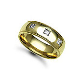 Jewelco London 9ct Yellow Gold 7mm Court Mill-Grain Diamond set 30pts Trilogy Wedding / Commitment Ring